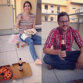 Enjoying our first dinner on the balcony of our new apartment: One of life's beautiful moments.
