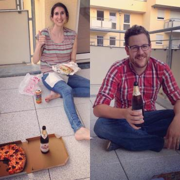Enjoying our first dinner in our new apartment