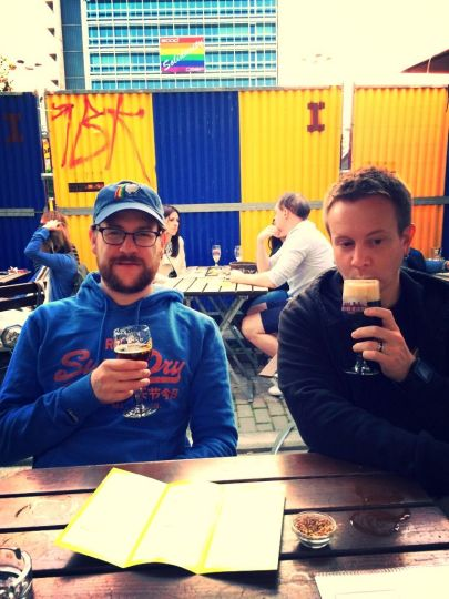 Dan and James with their fancy Belgian beers at Chez Moeder Lambic