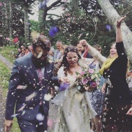 My favorite flower petal shower photo, because of Kerranna's gleeful expression and fully extended arm